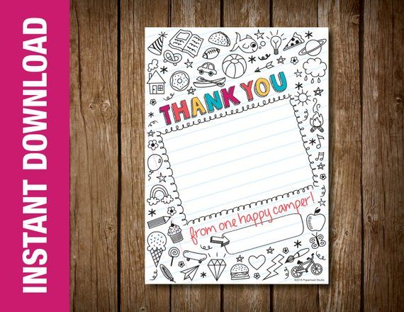 Printable Summer Camp Thank You Note Camp Counselor Thank You