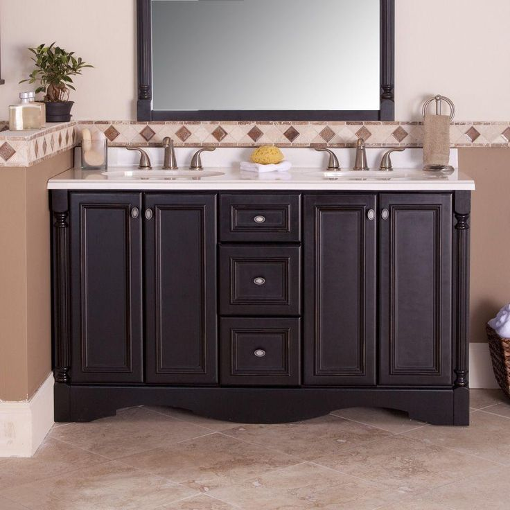 St. Paul Valencia 60 In. Vanity Cabinet Only In Antique Black