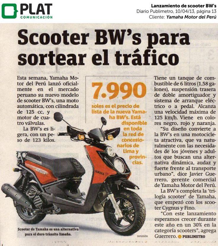 Yamaha: Lanzamiento de scooter BW's en el diario Publimetro de Perú (10/04/13)