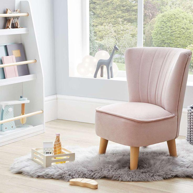 Kids miniature isla velvet cocktail chair blush velvet