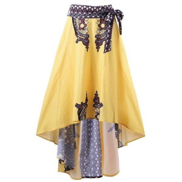 Tribal Print High Low Hem Skirt Yellow ($18) ❤ liked on Polyvore featuring skirts, short in front long in back skirt, dip hem skirt, tribal skirts, short front long back skirt and hi low skirt