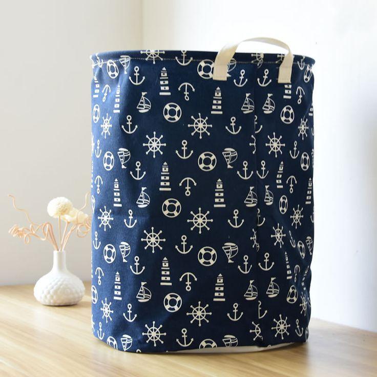 Новый синий хлопок одежды, холдинг Прачечная баррелей мусора ведро хранения ткани корзина для белья корзина хранения грязной одежды корзины купить на AliExpress
