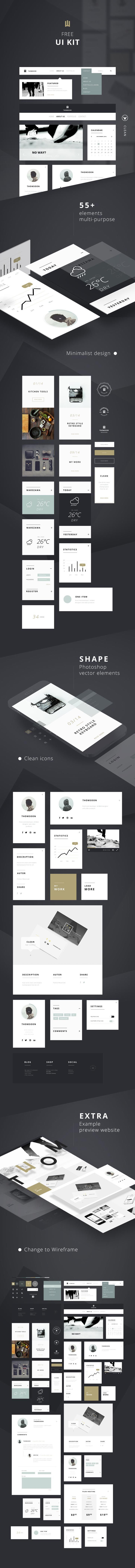 55+ Elements FREE UI KIT | Clean white [DOWNLOAD]