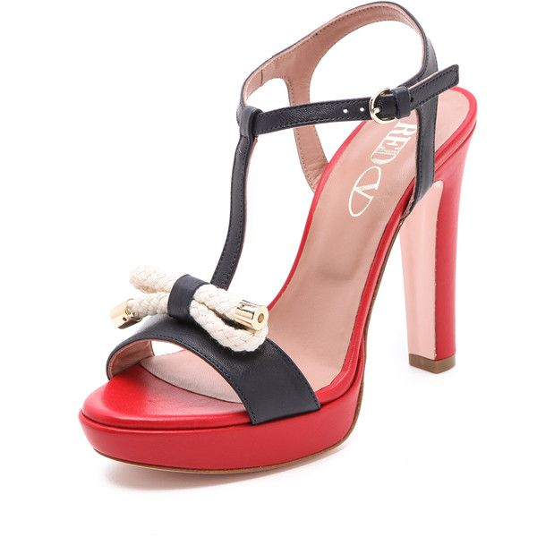 RED Valentino Nautical High Heel Sandals ($495) ❤ liked on Polyvore