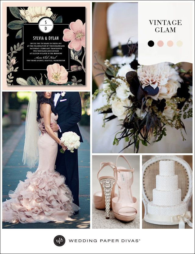 Black, blush, and moody blooms. We love the romance and elegance of a vintage inspired wedding with glamorous touches.