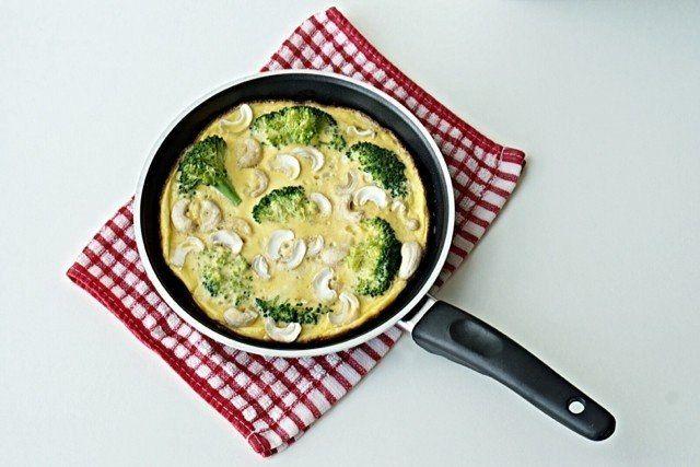 Омлет с брокколи и кешью  Ингредиенты:  Капуста брокколи – 200 г Куриные яйца – 4 шт. Молоко – 1/3 стакана Кешью - 50-70 г Сливочное/растительное масло для жарки Соль по вкусу  Приготовление:  1. Разделить брокколи на маленькие соцветия и обжарить на сковороде не более 5 минут. 2. В это время взбить венчиком яйца, молоко и соль, порубить орехи. 3. Вылить яичную смесь к брокколи, накрыть крышкой и готовить на медленном огне. 4. За пару минут до готовности добавить орехи.