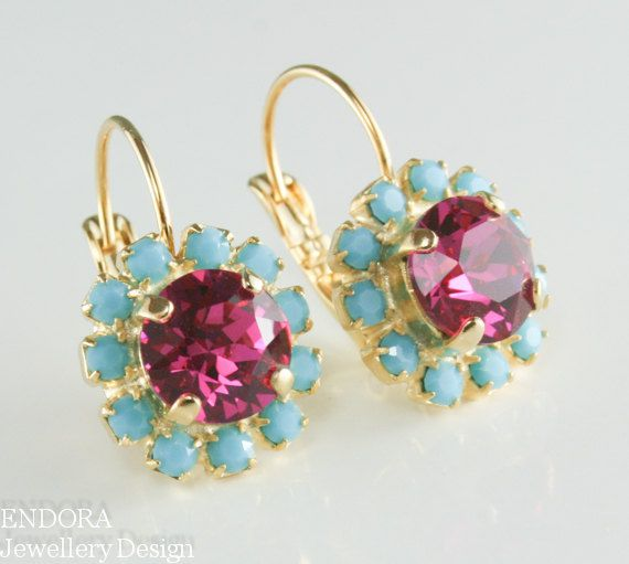 Crystal earrings, Bridesmaid earrings,Fuschia and Turquoise Earring,gold drop earrings,pink and turquoise earrings,Fuschia earrings    Fuschia