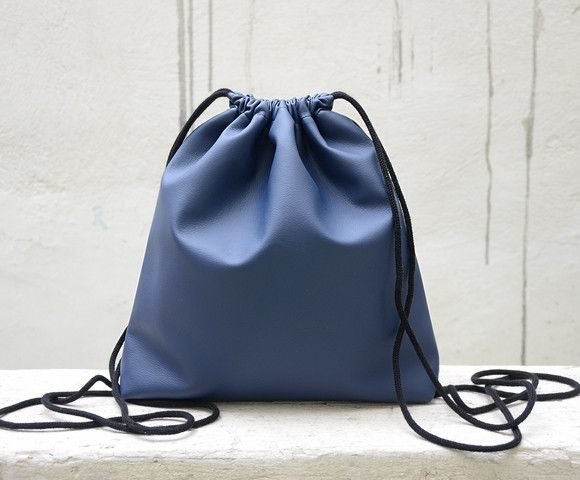 Backpacks – Blue Dark Drawstring Backpack. – a unique product by Loutik on DaWanda