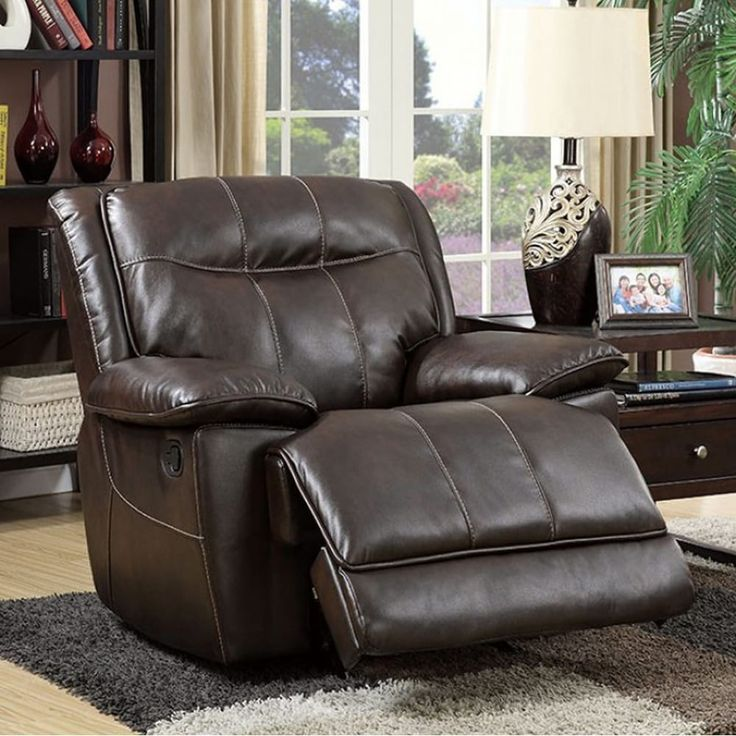 Benzara Dolton Transitional Glider Recliner Single Chair, Brown Finish, Size Standard (bonded leather match)