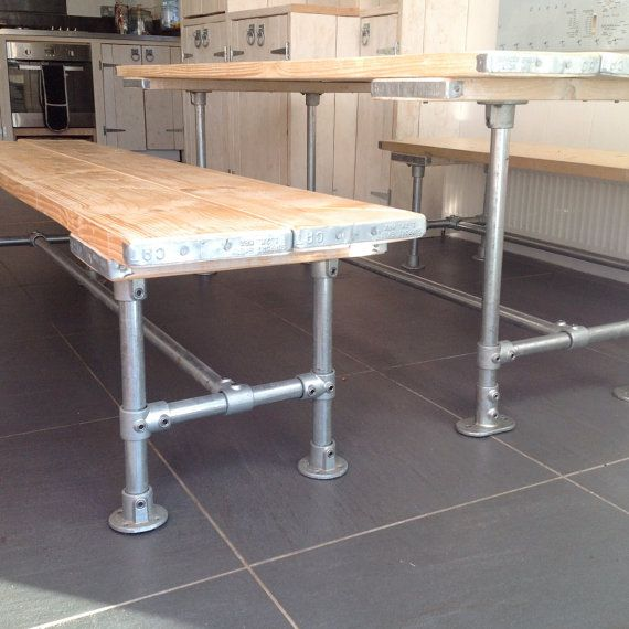 Dining Table And Two Wide Benches For Sale In Metal By Woodgriffin Projects