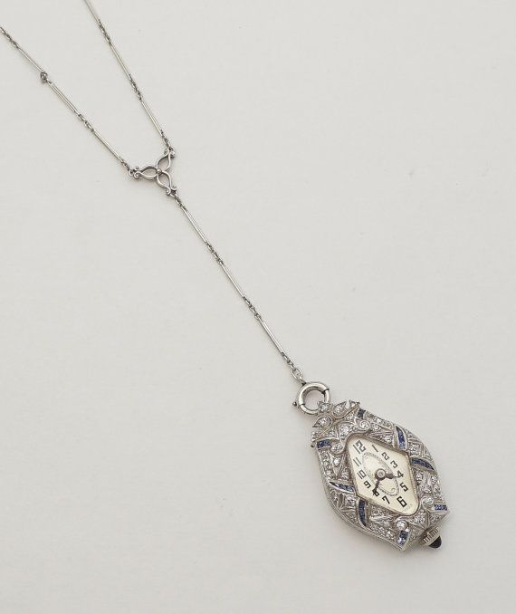 Antique watches 186 pinterest 1920 art deco diamond sapphire ladies pendant watch in platinum mozeypictures Images