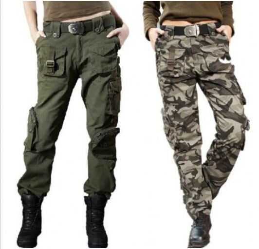 Women'S Overalls Military Army Fashion Camo Cargo Pocket Pants Leisure Trousers