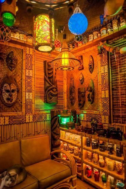 The Desert Oasis Room -- Tiki Central- Love the lighting!  Vintage Tiki, Tiki Bar, Tiki Decor!