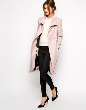Enlarge Ted Baker Belted Wrap Coat in Pale Pink