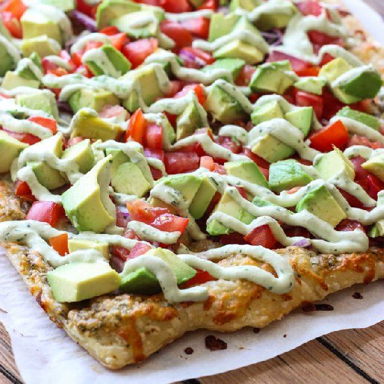 Skinny Avocado Pizza with Avocado Sauce tastes like famous avocado eggrolls at Cheesecake Factory