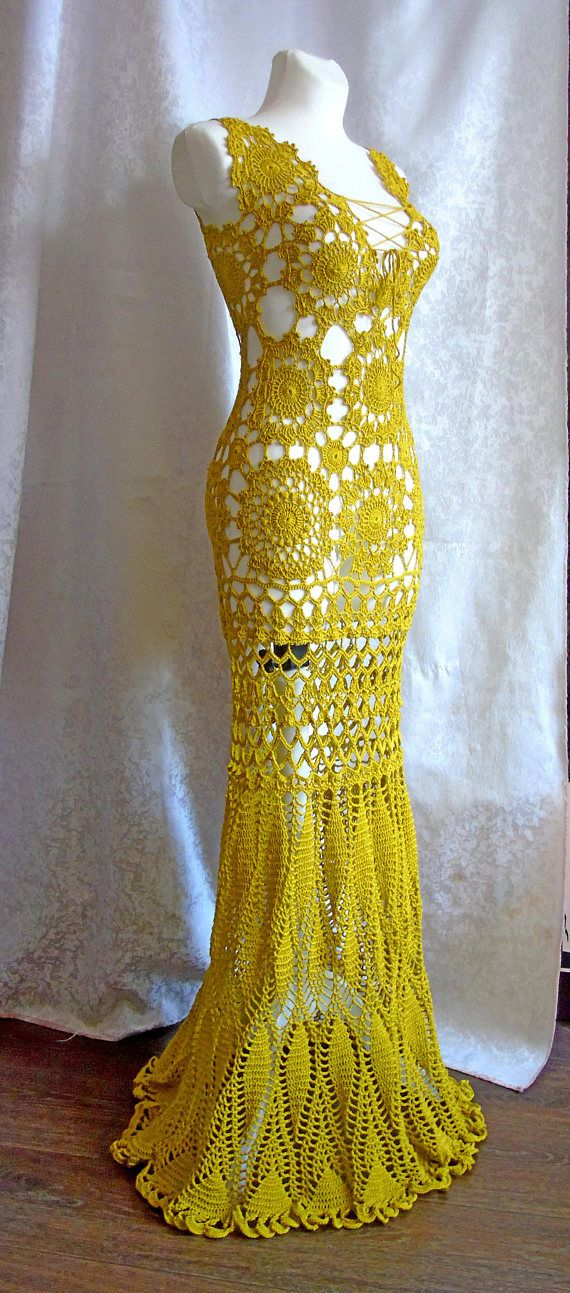 Mustard yellow long with open back lacy wedding dress. Hand Crochet lace dress - cotton yarn. Ready to ship. The perfect elegant statement beach wedding dress for any occasion. You'll love the way you look and feel in this flowing, floor-length gown. Unlined option-perfect for a beach