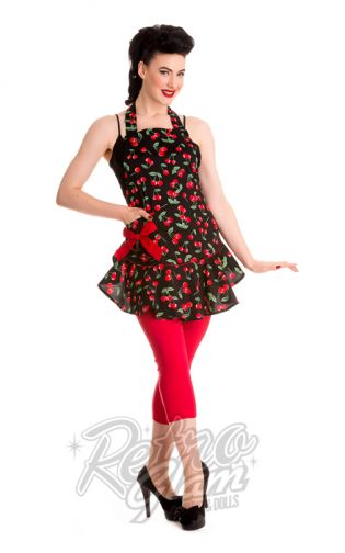 Many prints in this sweet #hellbunny apron..makes a great gift at a great price! #vintageinspired #pinup #apron #kitchen #alt #retroglam #retroglamclothing #rockabilly