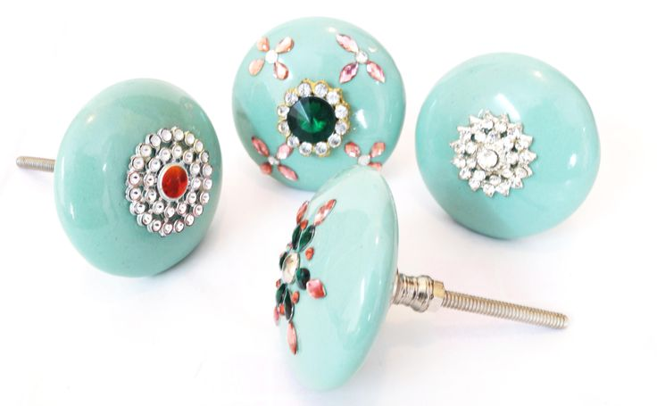 Decorative Aqua Knob With Crystal Stone Work & Jeweled Knobs& Pull