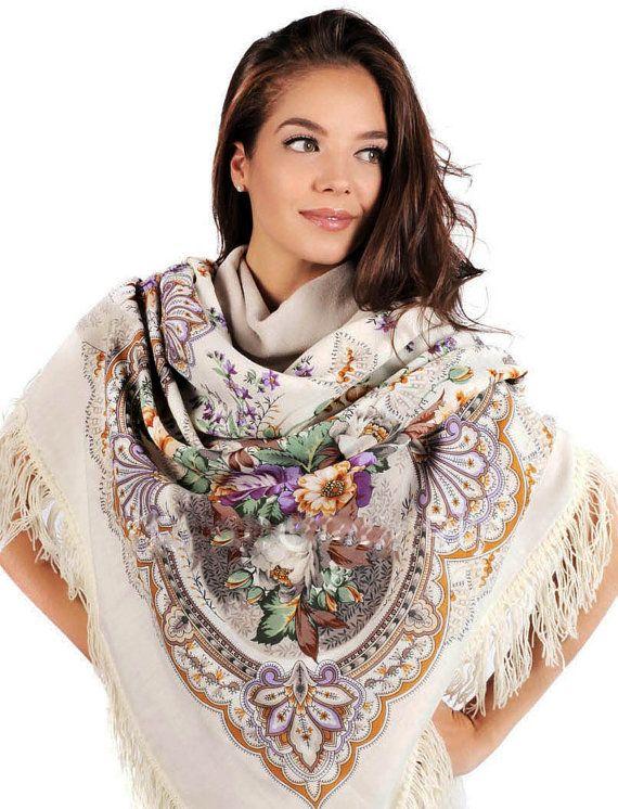 Shawl Russian Pavlovo Posad White purple Wool 100% by russianicon
