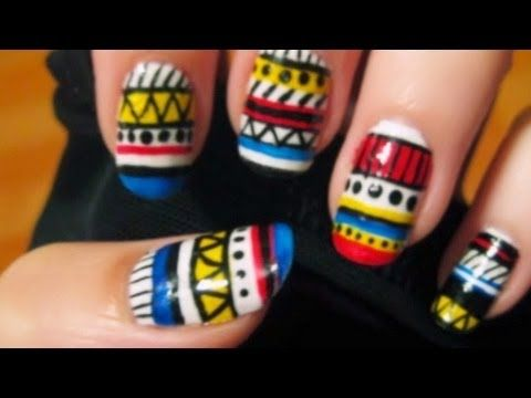 Paint a wild tribal Aztec print on your nails for a fun new look!