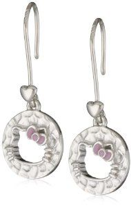"""Hello Kitty by Simmons Jewelry Co. """"Hammered Disc White Rhodium"""" White Rhodium Plated with Silhouette Cut Out Enamel Bow Hook Drop Earrings Hello Kitty. $125.00. Made in China"""