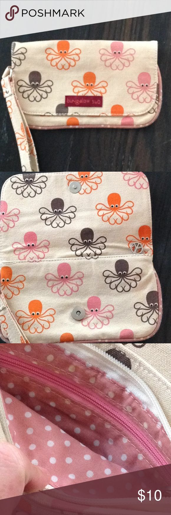 BUNGALOW 360 wristlet Cream with octopus print, fits phone and lots of stuff, zipper closure with interior zipper pocket, 8 3/4 x 5 bungalow 360 Bags Clutches & Wristlets