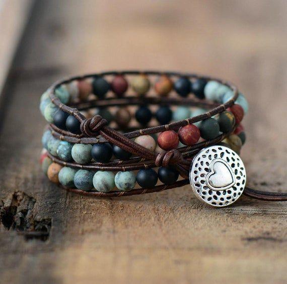 Jasper bracelet  Adjustable gemstone bracelet  Gemstone beaded bracelet
