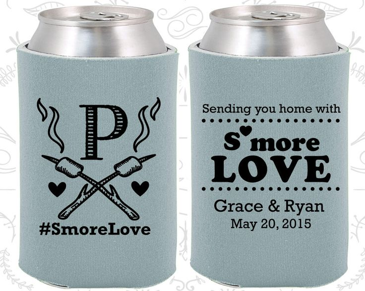 sending you home with smore love unique wedding smore love monogram wedding monogrammed gift camping wedding beverage insulators 586