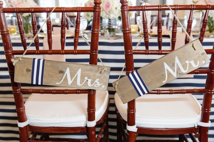 Mrs. & Mr. Signs at The Head Table  Knot Too Shabby Events Wilmington, NC Event Planning & Wedding Coordination - Event Blog - Knot Too Shabby Events Wilmington, NC Wedding & Event Coordination