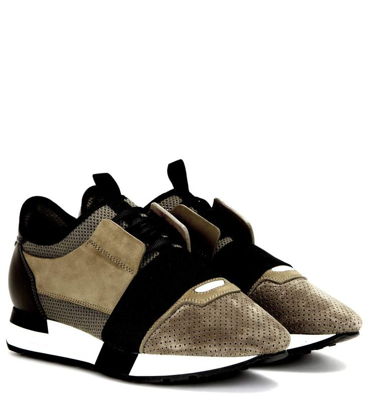 BALENCIAGA Race Runner Fabric, Leather And Suede Sneakers. #balenciaga #shoes #sneakers