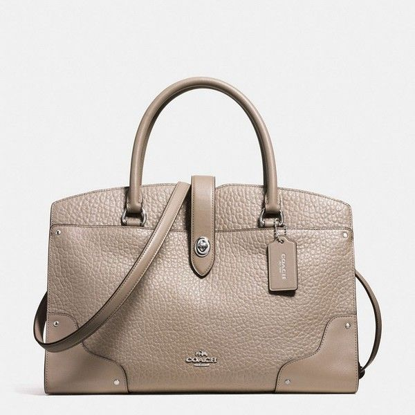 Coach Mercer Satchel ($450) ❤ liked on Polyvore featuring bags, handbags, leather handbags, coach satchel, leather cross body handbags, leather crossbody purse and coach crossbody