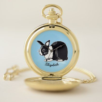 Dutch Rabbit Personalized Pocket Watch - black gifts unique cool diy customize personalize