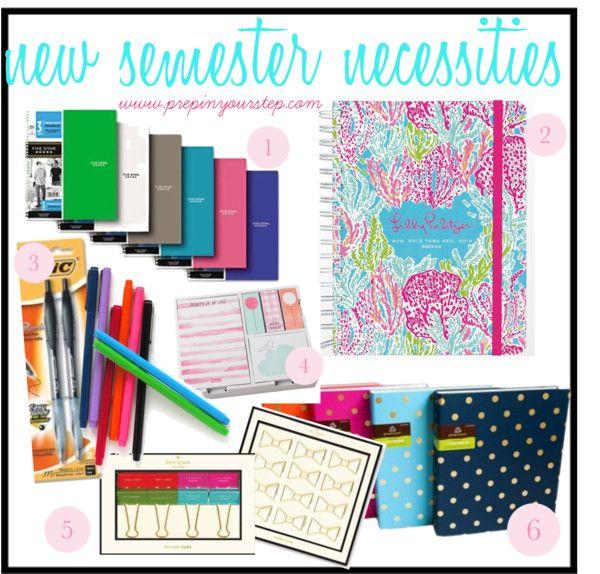 6 Folders, 6 Notebooks, Pencils, highlighters, note cards, pens, three binders, planner, calculator, looseleaf paper, binder dividers