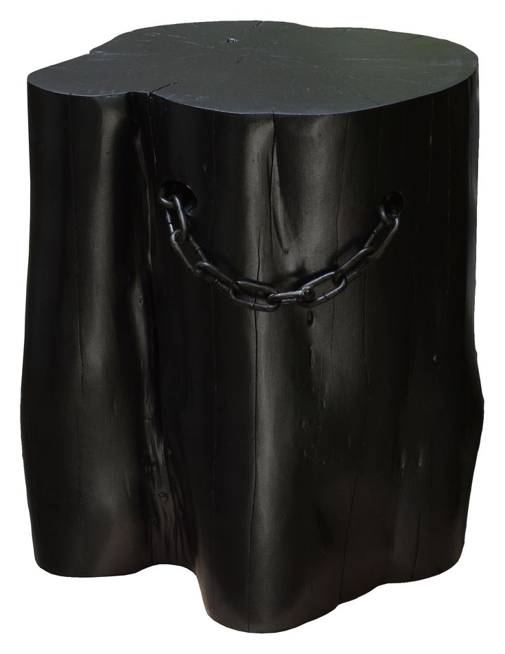 Black Charcoal Log Stool or Side Table