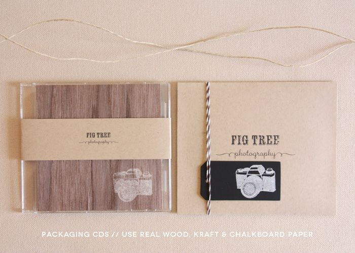 photo packaging // packaging cds / use real wood, kraft, and chalkboard paper