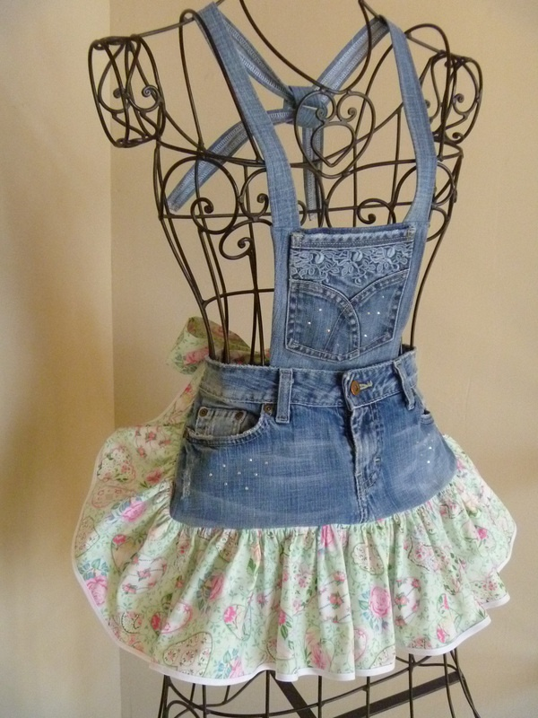 Denim Aprons - Redneck Girl Aprons, L.L.C. I like the shorter jeans front and longer ruffle of this one.