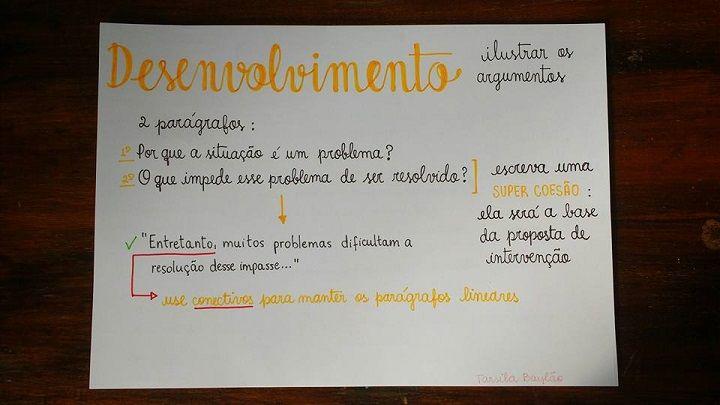 Professora divulga esquema de seis passos para estudantes tirarem nota máxima na redação do ENEM. Conteúdo revela o que os avaliadores do exame esperam