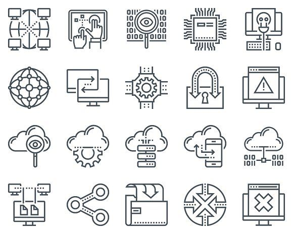 Internet and technology icon set by howcolour on Creative Market