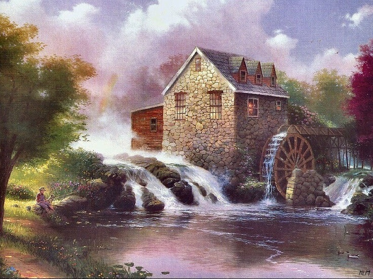 Mill in Summer by Thomas Kinkade