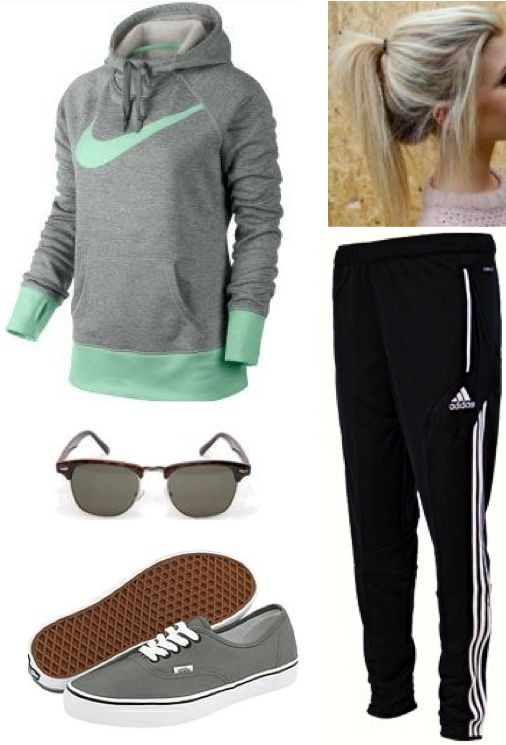 Love this lazy or casual outfit. Nike sweatshirt. Adidas pants. Grey vans. #teen #casual #fashion