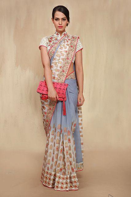 A qi pao-meets-sari original by Anju Modi. #refinery29 http://www.refinery29.com/sari-outfits#slide-8