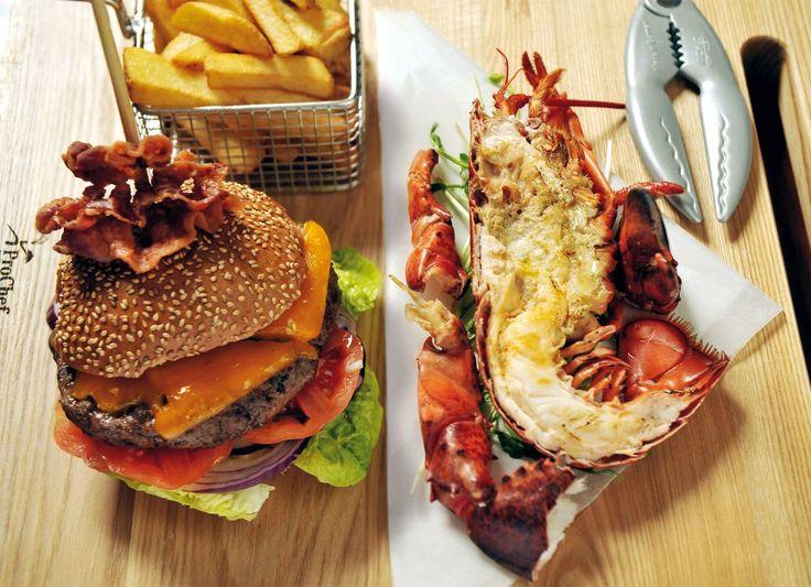At Hummbar you can choose between delisious labstor or hamburger dishes.