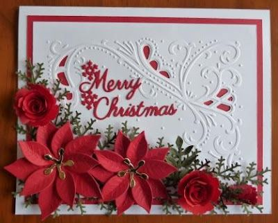 Handcrafted by Helen: One of Three Christmas Cards. Very pretty, but it looks time consuming!