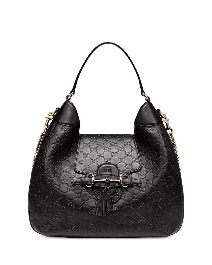 Gucci Emily Guccissima Leather Hobo Bag, Black