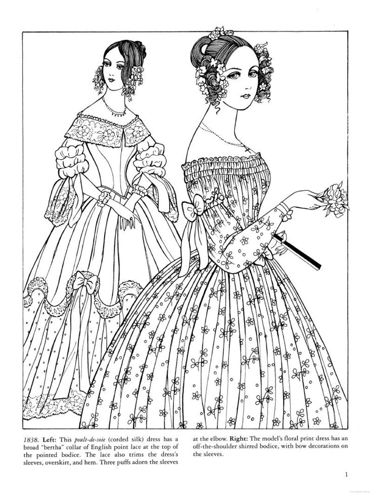37 best Historical Fashion Coloring Pages images on Pinterest