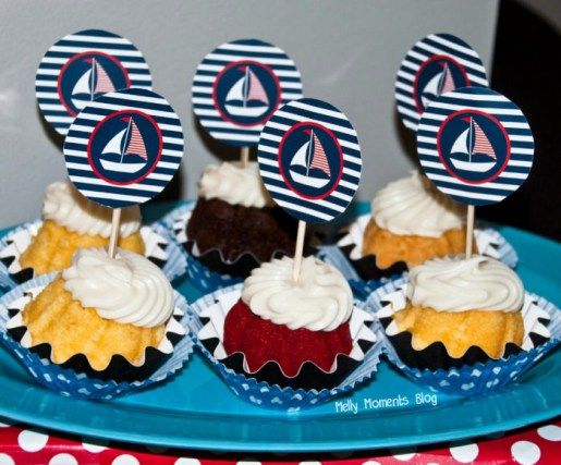 Nautical Themed Party Desserts and Decor - sailboat cupcake toppers!