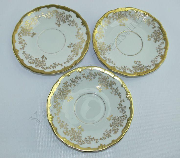Weimar Porzellan Katharina Saucer Set of 3 Gold Flowers 14051 #WeimarPorzellan