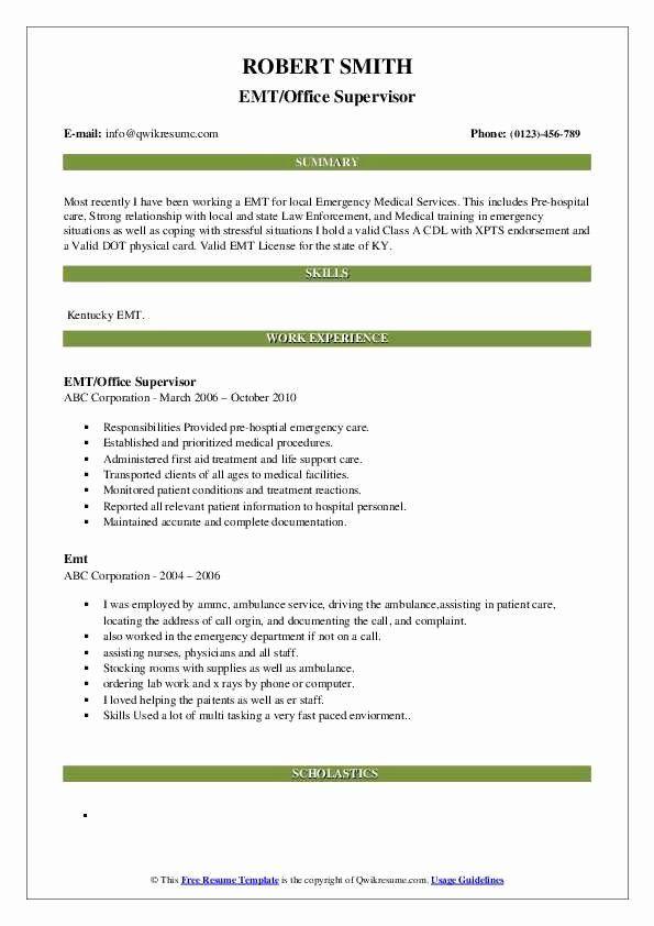 emt job description resume inspirational emt resume