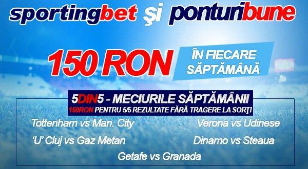 5 din 5 la Sportingbet - 5 pronosticuri corecte - 150 ron garantat - editia a 4-a - Ponturi Bune