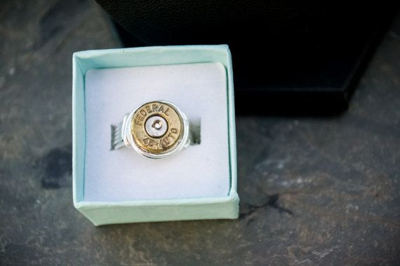 45 Auto ring Silver ring Bullet jewelry by OneBadBatCreations